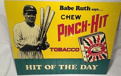 """Vintage Babe Ruth Pinch-Hit Chewing Tobacco Metal Sign 14"""" x 11"""" Reproduction"""