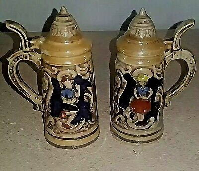 Vintage Collectible Beer Stein Salt And Pepper Shaker Set Made In Japan