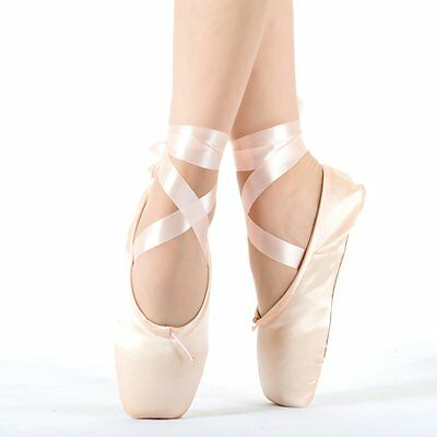 Bezioner Dance Shoe Pink Satin Ballet Pointe Shoes with Ribbon and Toe Pads 42