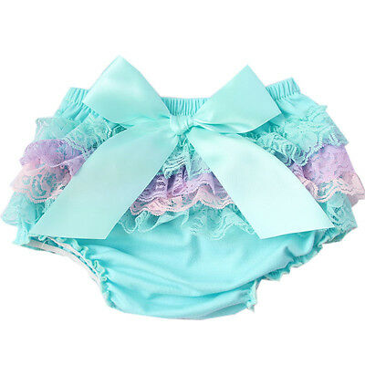 New Toddler Baby Girls Ruffle PP Pants Shorts Bow Bloomers Diaper Nappy Cover
