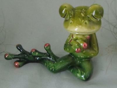 GREEN TREE FROG MEDITATION PRAY PRAYING SERENE Sculpture RESIN Fairy Garden