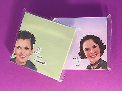 ANNE TAINTORLot of 2Packs Sealed Sticky Notes Retro Vintage Office Humor