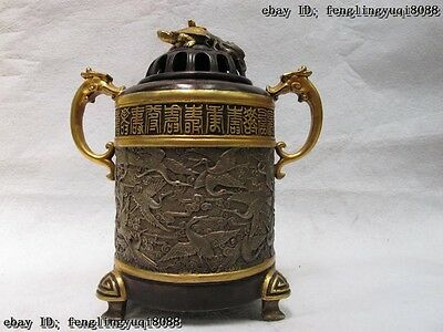 China Royal Bronze 24K Gild Silver 100 Red crowned Crane tortoise incense burner