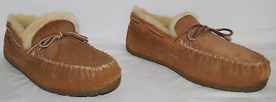 L.L. Bean Brown Suede Leather Fur Lined Mocassin Slippers Men's Size 13M  EUC