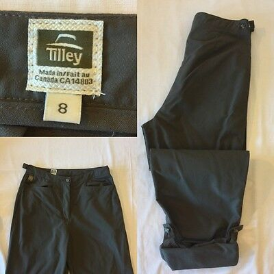 TILLEY ENDURABLES Women's Nylon Outdoor Pants Size 8 Taupe Roll Up Cuffs