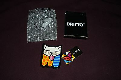 "HTF Romero Britto 4"" Teabag Holder Featuring CAT NWT New in Box"