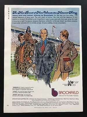 1972 Vintage Print Ad | Brookfield | 1970s Men's Fashion Style Tailored Suit