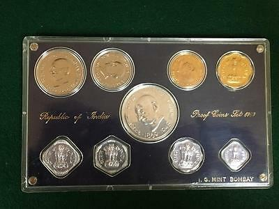India 1969 Hard Case Proof Set Rare Variety Ex Low Mintage