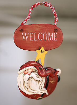 2 x Merry Christmas Ornament Santa Festive Welcome Hanging Tree Decoration NEW