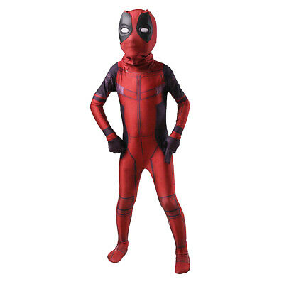 Kids Deadpool Cosplay Costume Spandex Lycra Zentai Suit Halloween Party Bodysuit