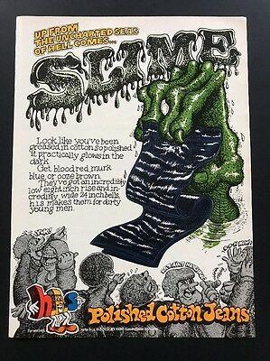 1972 Vintage Print Ad   H.I.S. Jeans   1970s Psychedelic Animated Men's Fashion