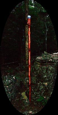 """6' 4"""" Red Cedar Wood Wizard Staff Lighted Glass Sphere High Sanctity Scale"""