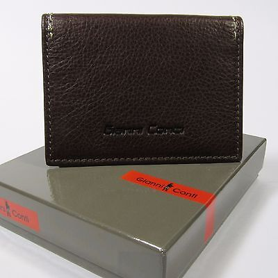 GIANNI CONTI Men's Genuine Leather ID/Credit Card Case Made in Italy BROWN NWT