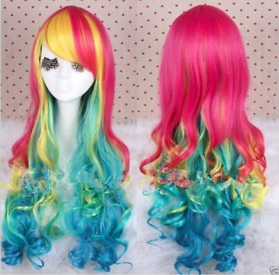 Pride Rainbow Colourful Ombre Curly Wavy Super Long Mermaid Fringe Wig Full Hair