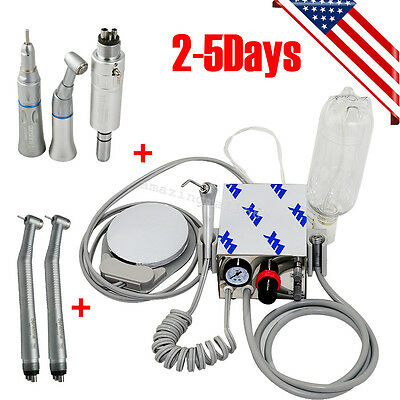 Dental Portable Air Turbine Unit for Compressor 4 Hole +High Low Speed Handpiece