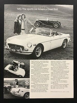 1972 Vintage Print Ad | MG Sport Car | 1970s Convertible Field MGB