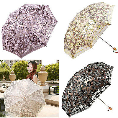 2017 US Womens Lace Princess folding Anti-UV Parasol Umbrella for Sun protection