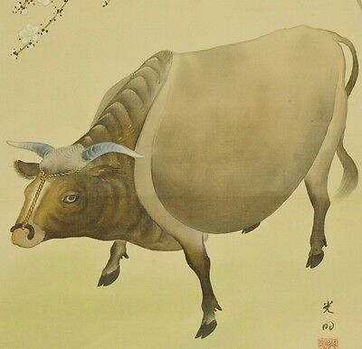 Hanging Scroll Japanese Painting Antique Cattle Plum Japan Asian Picture b081