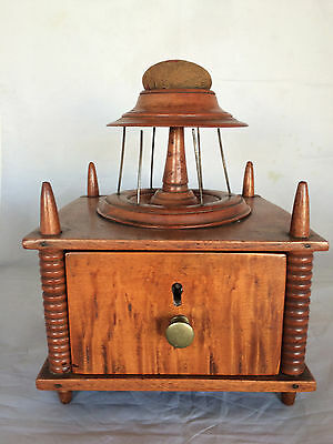 Antique 19th Century 2-Tiered Spool Drawer Thread Sewing Caddy Tiger Maple