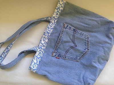 Recycled Levis Denim Project Bag - Knit/Crochet