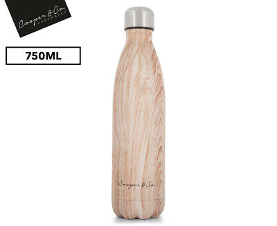 750ml Insulated Stainless Steel BPA Free Water Bottle - Matte Finish Light Wood