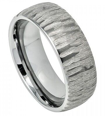 Tungsten Semi Domed Ring 8mm with Tree Bark Carved Textured Finish Design