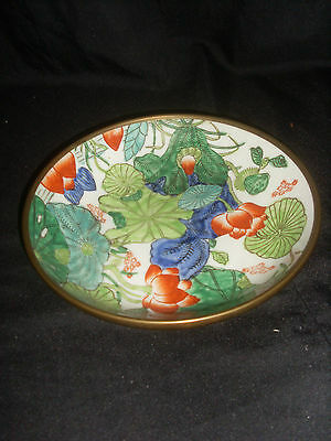 Small Vintage Japanese Brass Coated Pottery Bowl