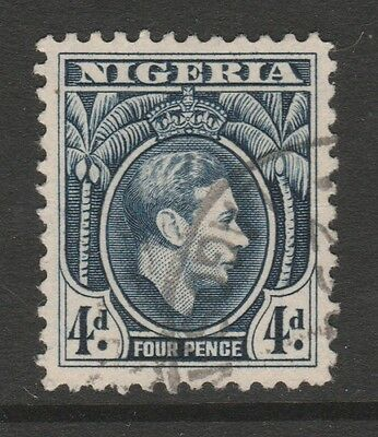 1938 NIGERIA 4d BLUE KING GEORGE VI STAMP – USED