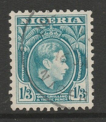 1938 NIGERIA 1S-3d BLUE KING GEORGE VI STAMP – USED