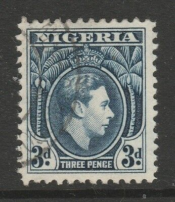 1938 NIGERIA 3d BLUE KING GEORGE VI STAMP – USED