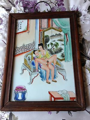 Very Old Chinese Porcelain Erotica Framed Wall Plaque