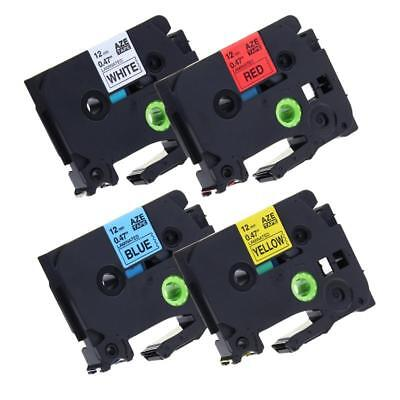 4pk TZe-231 TZ431 TZe631 Label Tape Compatible for Brother P-Touch 4 Color 12mm