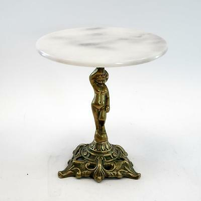Small Vintage Brass Alabaster Cherub Pedestal Stand with Round Marble Surface