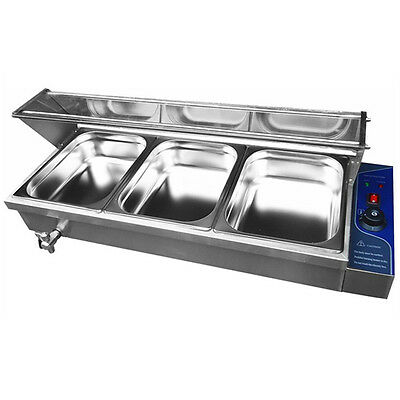 3 Pan Wet Well Bain Marie Servery Hot Food Warmer Coffee Display With Glass Top