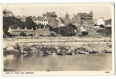 ISLE OF MAN Port St Mary Harbour, RP postcard by Photocrom Postally Used 1957