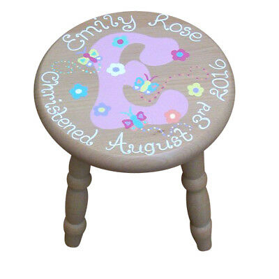 Child's Personalised Wooden Initial Stool for Girls