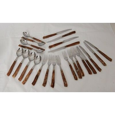 Partial 24 Piece Japanese Cutlery Set with Faux Bone Handles