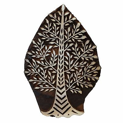 Large Tree Leaves Indian Wooden Printing Block Stamp, 15 cm x 10 cm, Hand Carved