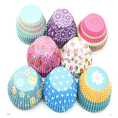 100x Paper Muffin Cup Cases Liners Cake Baking Cupcake Wrappers Kitchen Tools