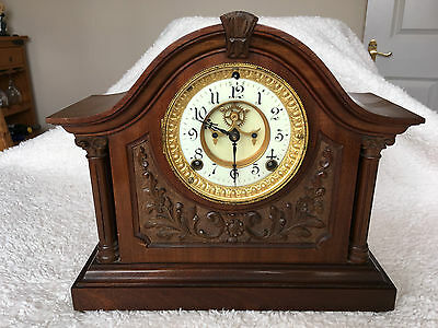 Ansonia Clock Co. Walnut Carved Case Mantel Clock, Patented 1881 Needs Attention