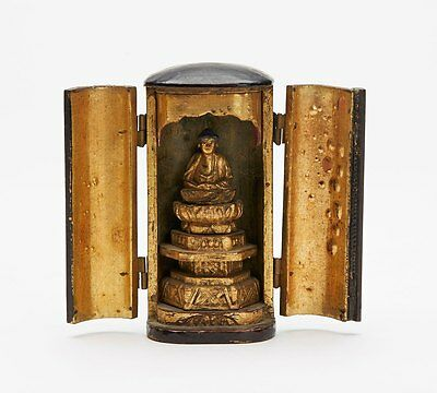 Antique Japanese Zushi With Carved Buddha Figure 19Th C.