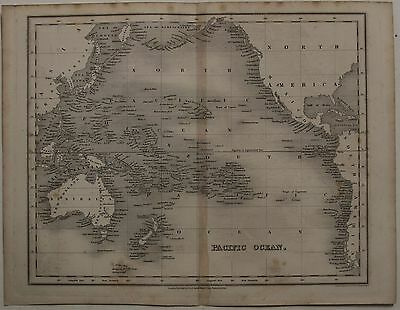 Australia New Zealand Hawaii Pacific Islands 1840 Dower Antique Engraved Map