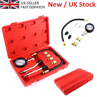 Automotive Petrol Engine Compression Tester Kit Gauge Car Motorcycle Tool W/ Box