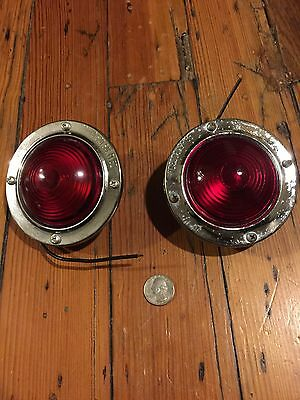 NOS 2 VinTaGe Red KD520 LAMP GLASS Truck TRAVEL TRAILER Tail Marker Lights-Lot