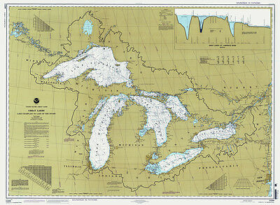 1997 Nautical Map of The Great Lakes
