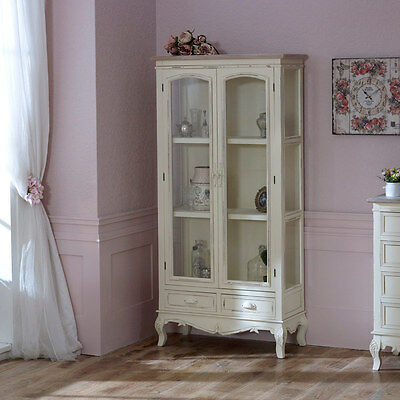 Cream double glass display cabinet shabby vintage chic living room furniture