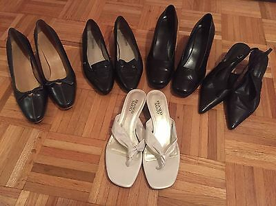 Lot of 5 Pairs of Women's Pre Owned Leather Heels, Sizes Vary