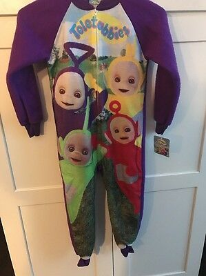 Teletubbies Cozy Fleece 1 Piece Zip Front Pajamas Unisex Purple 6X Discontinued