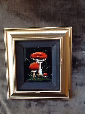 Original oil painting of three red mushrooms by M Lak Framed Signed 9 x 8