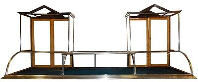 Large Double Steeple Display Showcase with Curved Glass & Nickel Finish